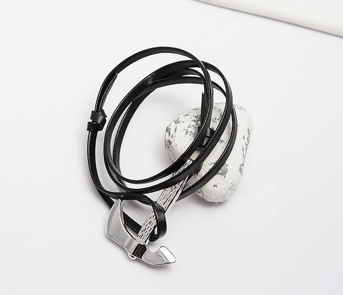 SL0223-K Кожаный браслет Spikes с металлической секирой фото 04