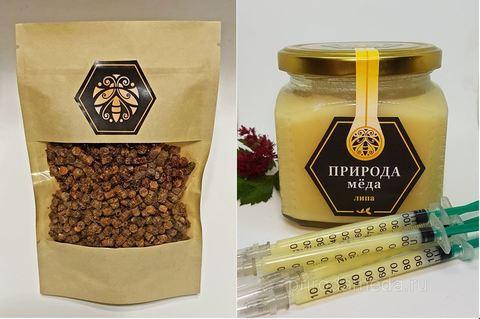 Набор продуктов пчеловодства: перга, маточное молочко с мёдом