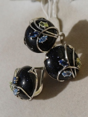 Ноктюрн (кольцо + серьги из серебра)