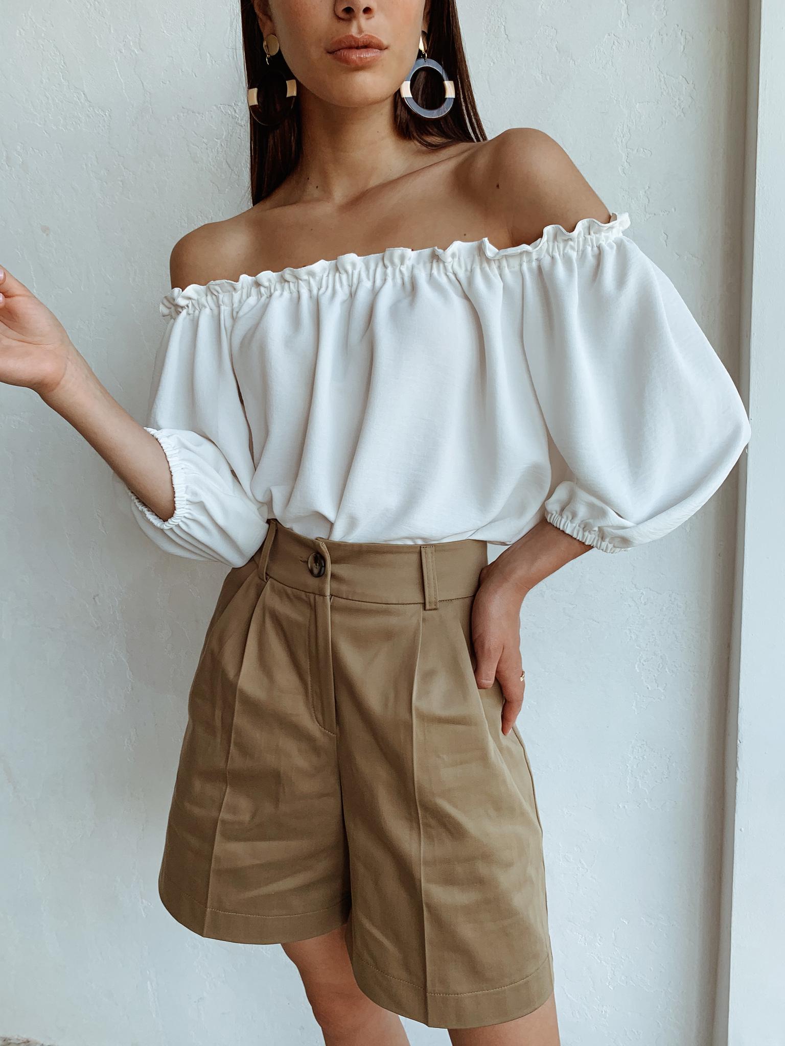 Блуза свободного кроя на резинке (one size) (айвори)