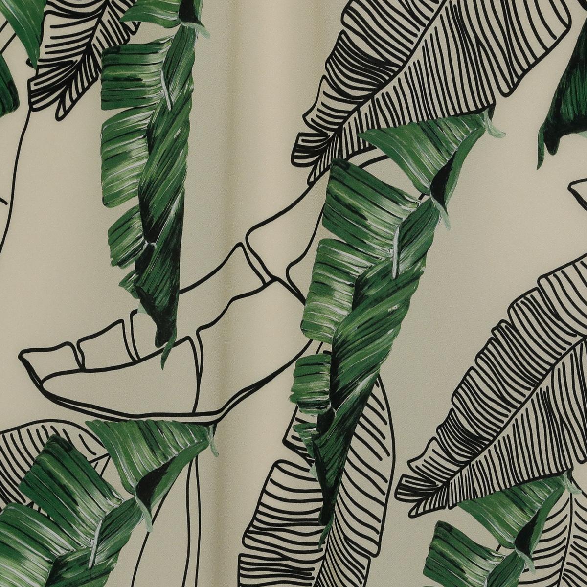 Шёлковый крепдешин пальмовые листья на бежевом