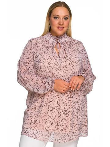 Шифоновая блуза со стойкой, пудровая