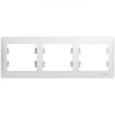 Рамка на 3 поста, горизонтальная. Цвет Белый. Schneider Electric Glossa. GSL000103