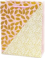 Пакет подарочный, Вальс листьев, Розовый, Металлик, 23*18*8 см.