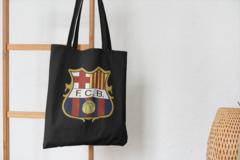 Сумка-шоппер с принтом FC Barcelona (ФК Барселона) черная 004