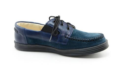 Ботинки для мальчиков кожаные Лель (LEL) на шнурках, цвет темно синий. Изображение 4 из 13.