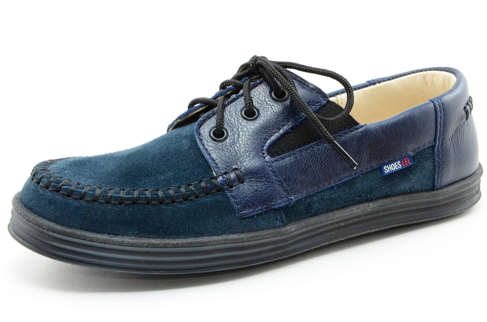 Ботинки для мальчиков кожаные Лель (LEL) на шнурках, цвет темно синий