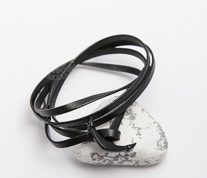 SL0222-K Браслет Spikes из кожи с якорем черного цвета фото 03