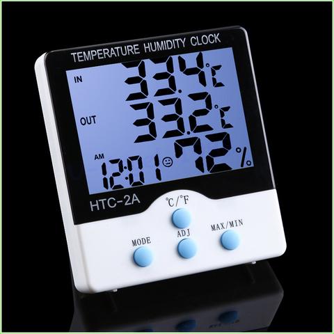 Цифровой термометр + гигрометр HTC-2A с часами и функцией будильника