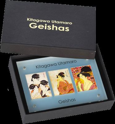 Набор из 3 монет 10 долларов. Гейши -  Японский художник Китагава Утамаро. Ниуэ. 2015 г. Серебро