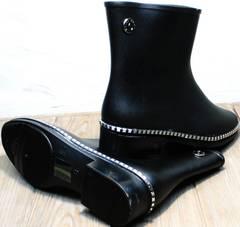 Короткие резиновые сапоги женские черные Hello Rain Story 1019 Black