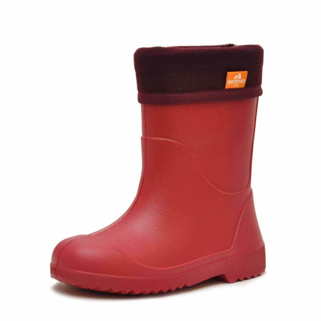 Детские резиновые сапоги из ЭВА Nordman Jet Красные с флисовым утеплителем