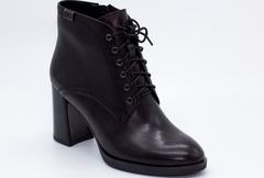 Черные кожаные ботильоны на шнуровке