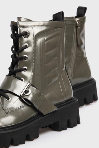 Женские зеленые кожаные ботинки PRPY