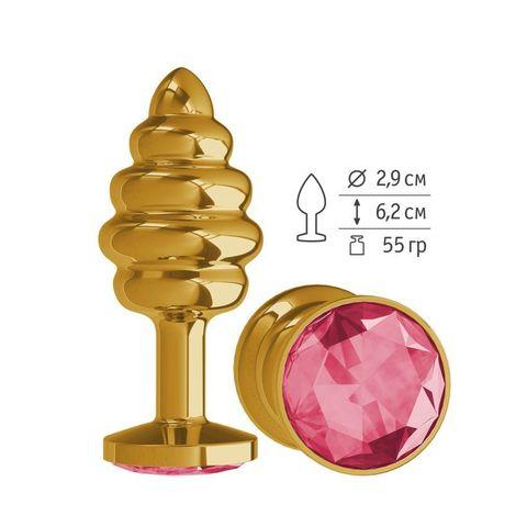 Анальная втулка Gold Spiral с малиновым кристаллом маленькая