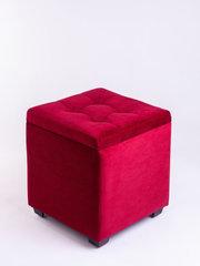 Пф-400-Я Пуфик квадратный (темно красный) с ящиком для хранения