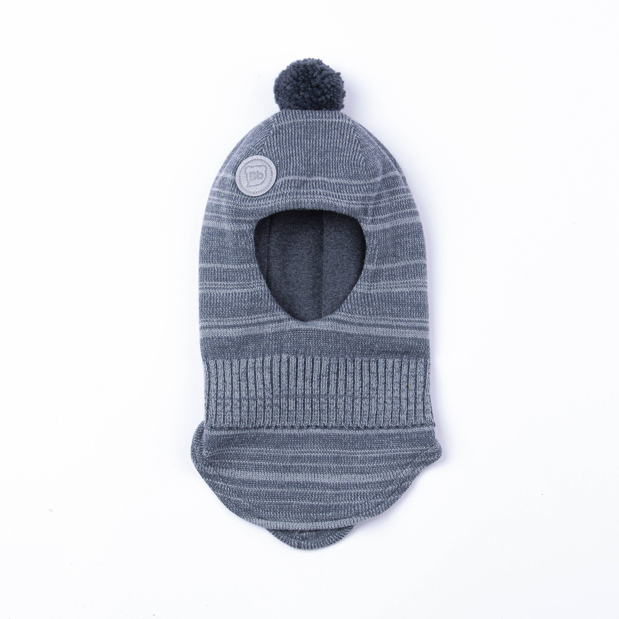 Winter knitted balaclava with pompon - Graphite Melange