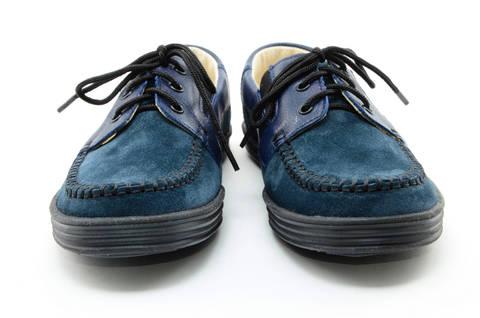 Ботинки для мальчиков кожаные Лель (LEL) на шнурках, цвет темно синий. Изображение 5 из 13.