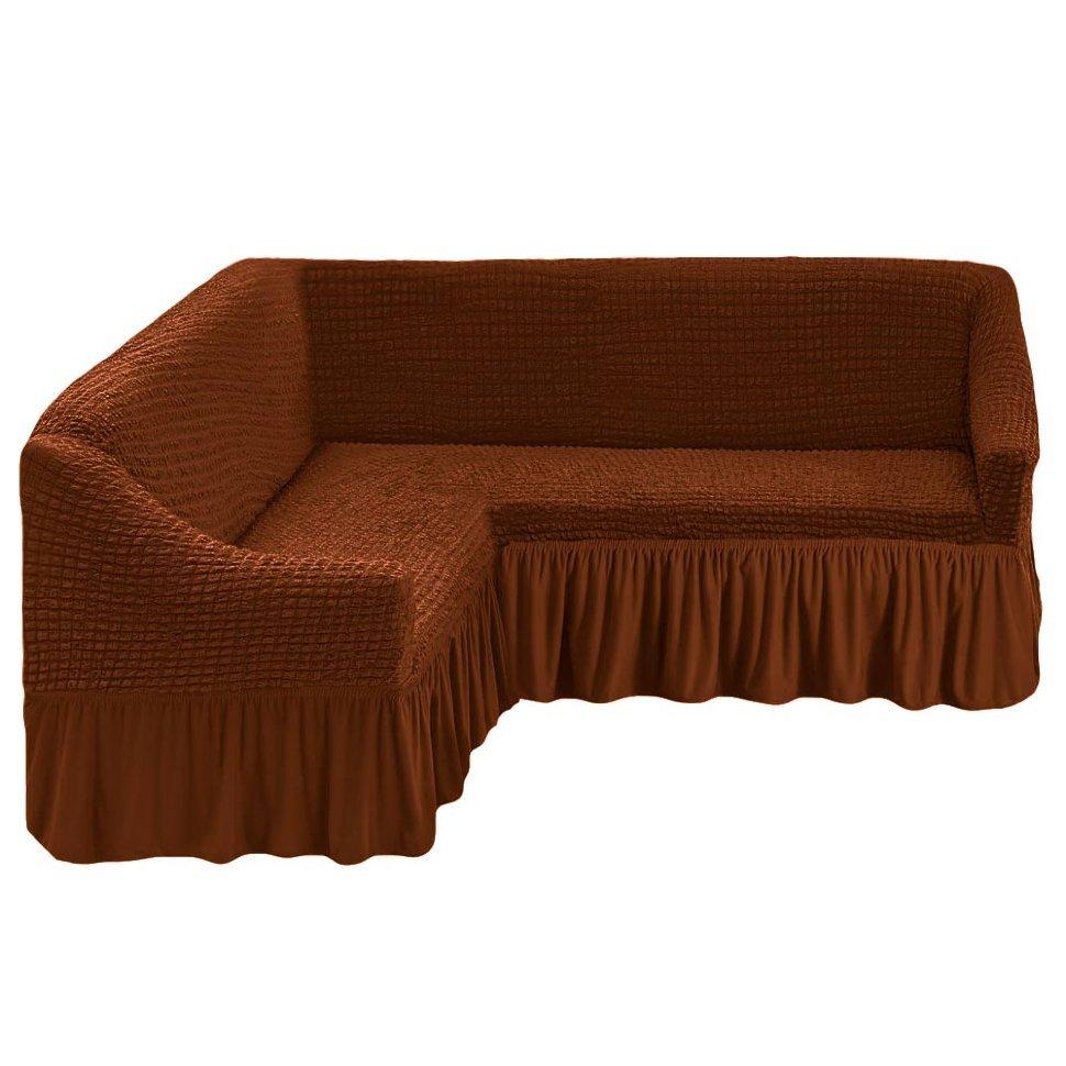 Чехол на угловой диван, коричневый