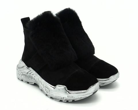 37ц Ботинки зима черные из нат.велюра с мех.отделкой