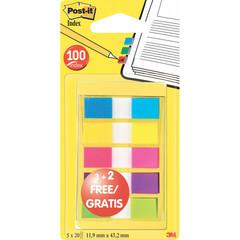 Клейкие закладки Post-it пластиковые 5 цветов по 20 листов ширина 12 мм