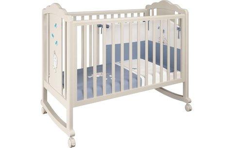 Кроватка детская Polini kids Classic 621 Зайки бежевый-синий капри