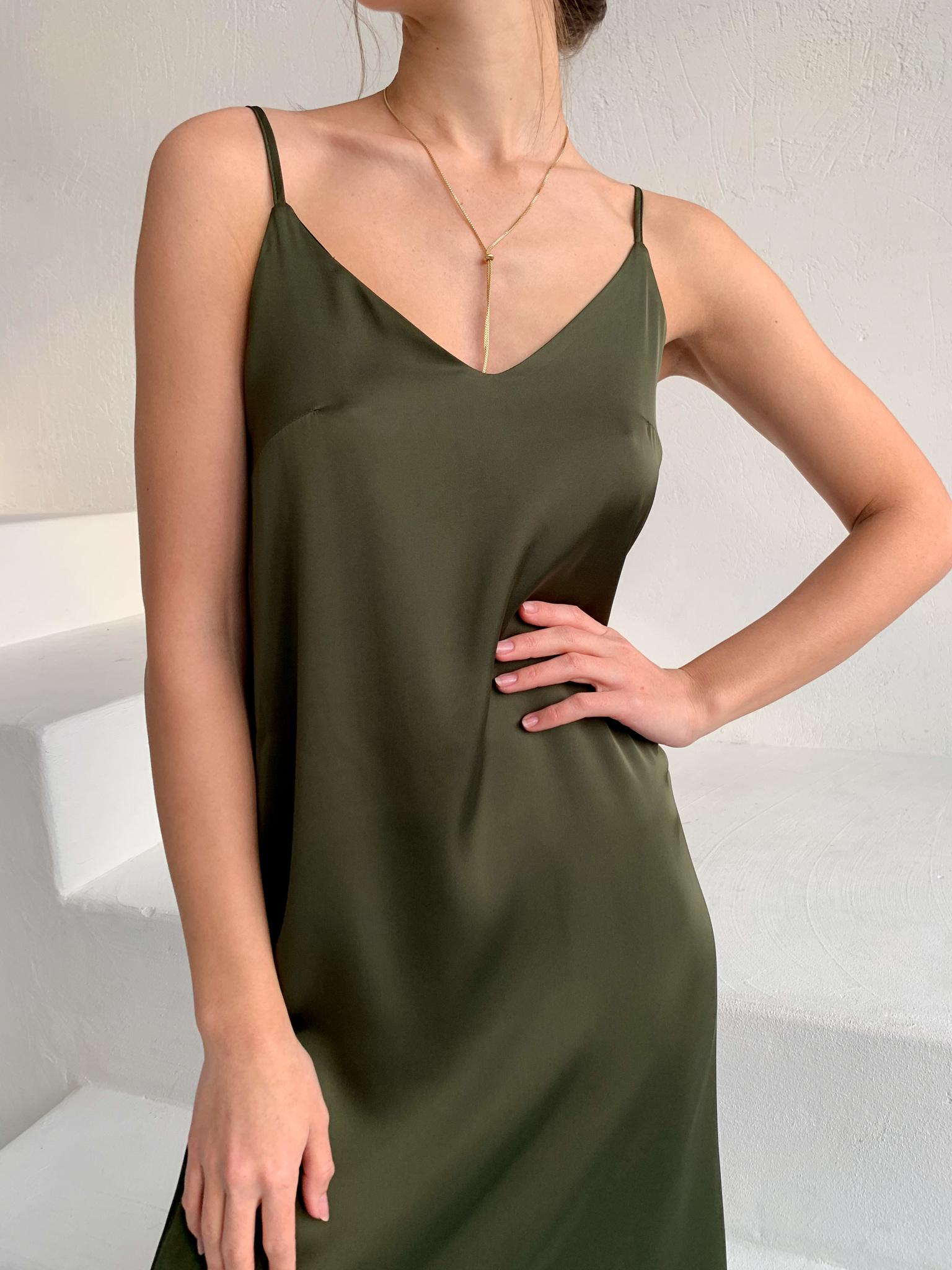 Шелковое платье комбинация (хаки)