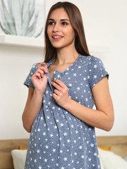 Мамаландия. Сорочка для беременных и кормящих с кнопками короткий рукав, звезды/темно-серый