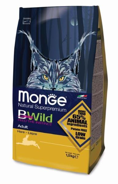 Купить Monge BWild Cat Hare корм для взрослых кошек с мясом зайца 1,5 кг