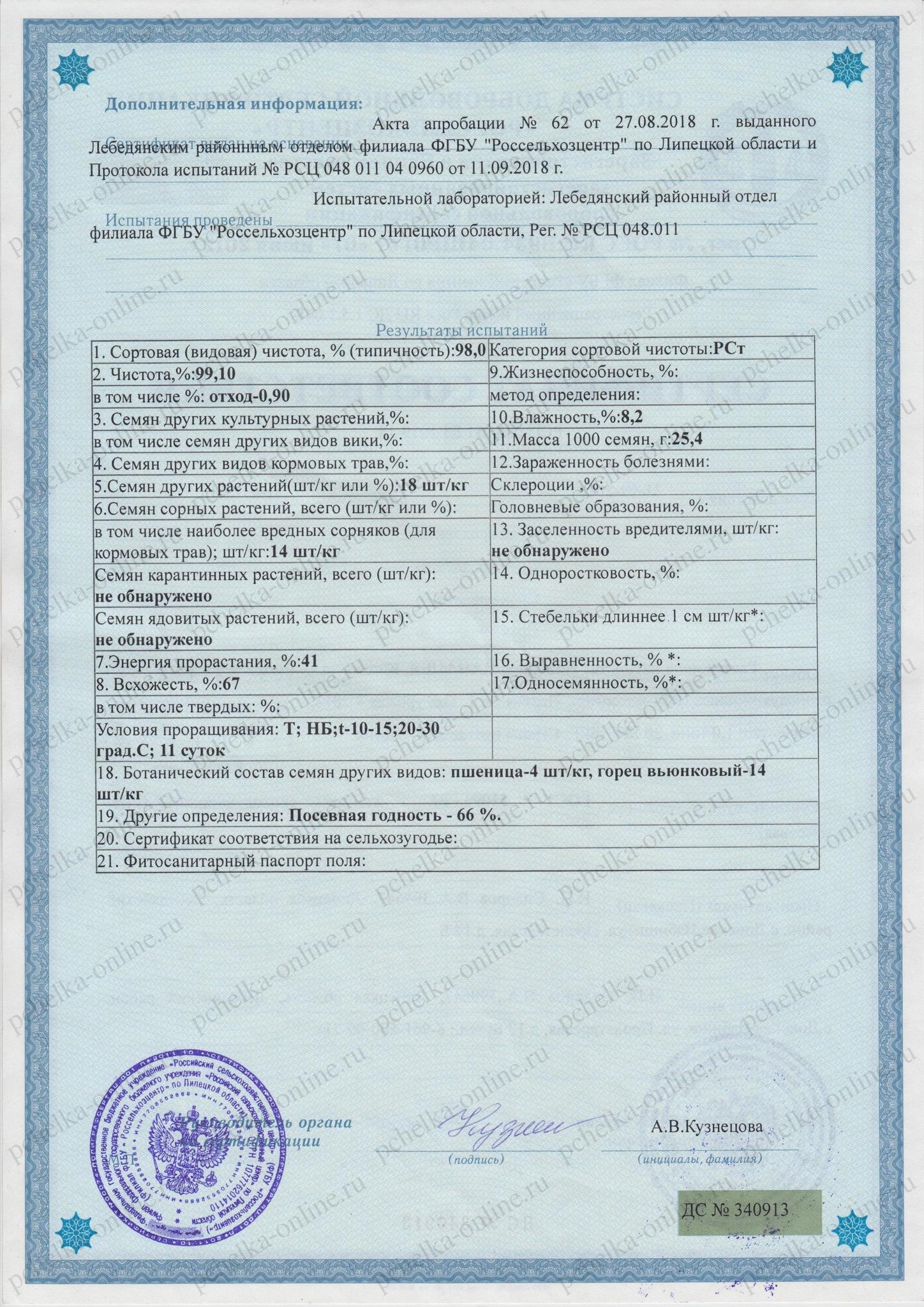 Сертификат соответствия расторопша пятнистая 2