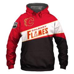 Толстовка утепленная  3D принт, НХЛ Калгари Флэймз (3Д Теплые Худи NHL  Calgary Flames)