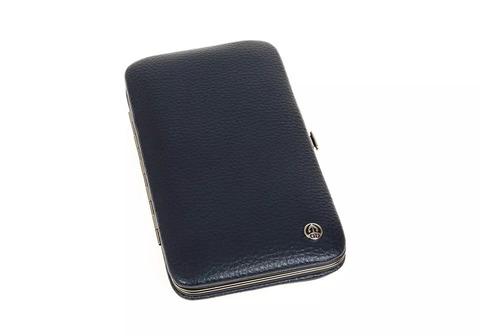 Маникюрный набор GD, 7 предметов, цвет синий, кожаный футляр