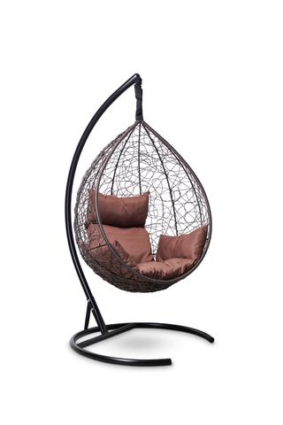 Подвесное кресло-кокон SEVILLA коричневое + каркас + коричневая подушка