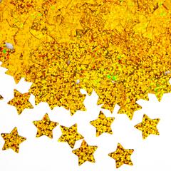Конфетти фольга Звезда, Золото, Голография, 1,5 см, 50 г.