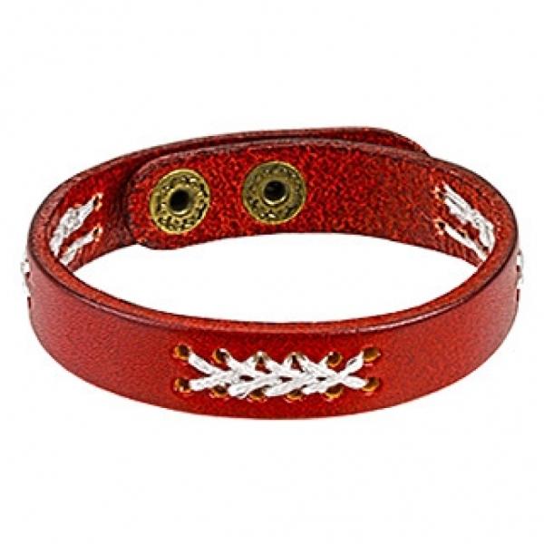 Красный мужской браслет из натуральной кожи SPIKES SL0146-R