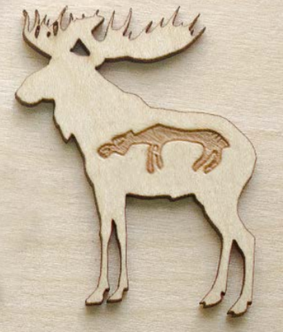 Магнит ДекорКоми на холодильник из дерева Лось