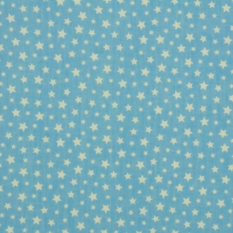 Ткань хлопковая белый звездопад на голубом