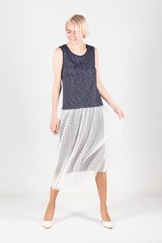 Фото серое платье с расклешенной двуслойной юбкой - Платье З295-244 (1)