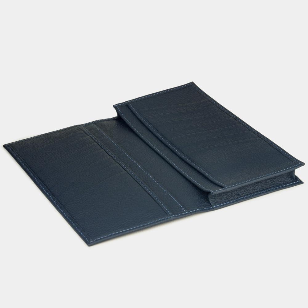 Длинный кошелек Lingot Easy из натуральной кожи теленка, цвета синий мат