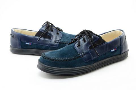 Ботинки для мальчиков кожаные Лель (LEL) на шнурках, цвет темно синий. Изображение 10 из 13.