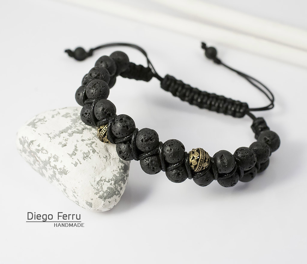 BS644 Двойной браслет из вулканической лавы, ручная работа, «Diego Ferru» фото 04