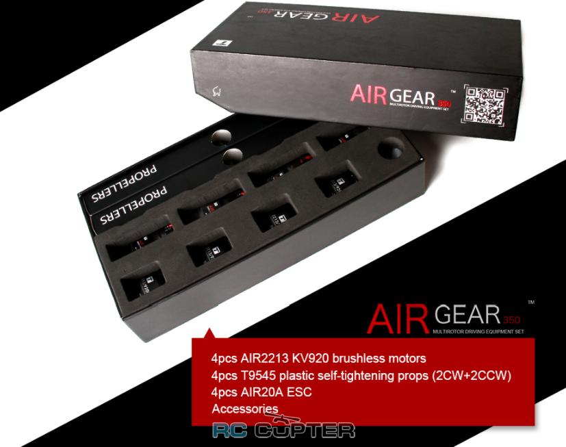 T-Motor Air Gear 350 (комплект) (x4 AIR2213 KV920 + x4 9.5x4,5 + x4 ESC 20A) (аналог DJI E305)