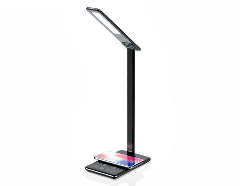Светодиодная настольная лампа с беспроводной зарядкой и USB портом DE582 BK черный LED 2700-6400K 6W