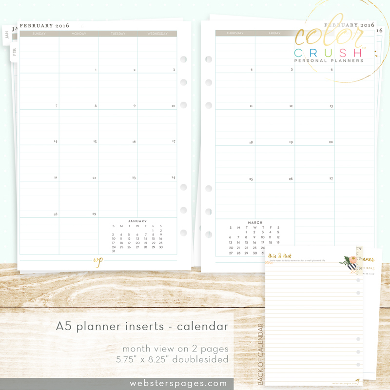 Разделительные страницы для ежемесячных заметок 15-MNTH MONTH ON TWO PAGE CALENDAR INSERTS (A5) для планера  формата A5