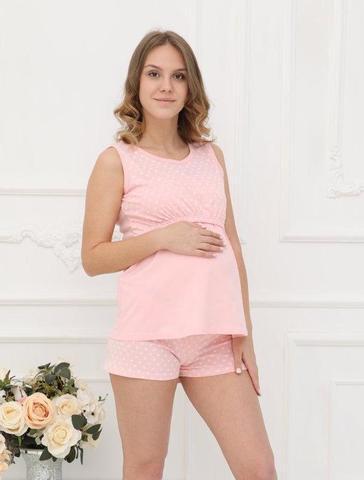 ФЭСТ, Hunny Mammy. Пижама для беременных и кормящих с горизонтальным секретом, розовый/белый