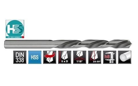 Сверло по металлу ц/x 12,0x151/101мм (LH-Левостороннее) DIN338 h8 5xD HSS-G 135° H-Tools 1720-1120 П