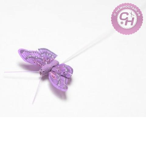 Бабочки перьевые декоративные цветные с блестками, 5,5 см, 1 шт.