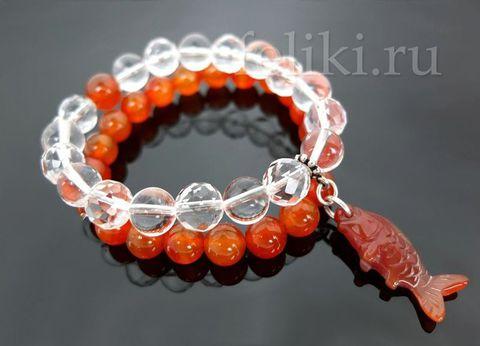 браслет прозрачный горный хрусталь и оранжевый сердолик с подвеской_фото