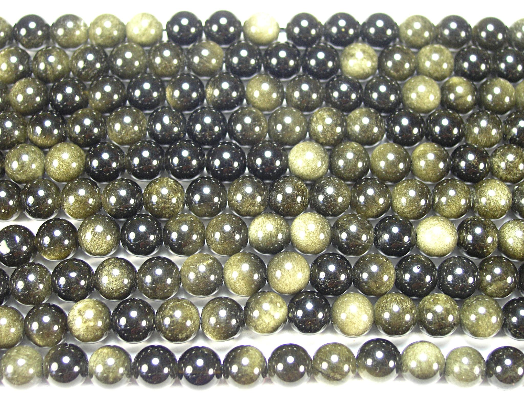 Нить бусин из обсидиана золотого, шар гладкий 6мм