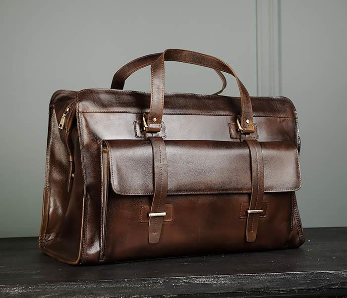 BAG468-2 Мужская сумка саквояж из натуральной кожи
